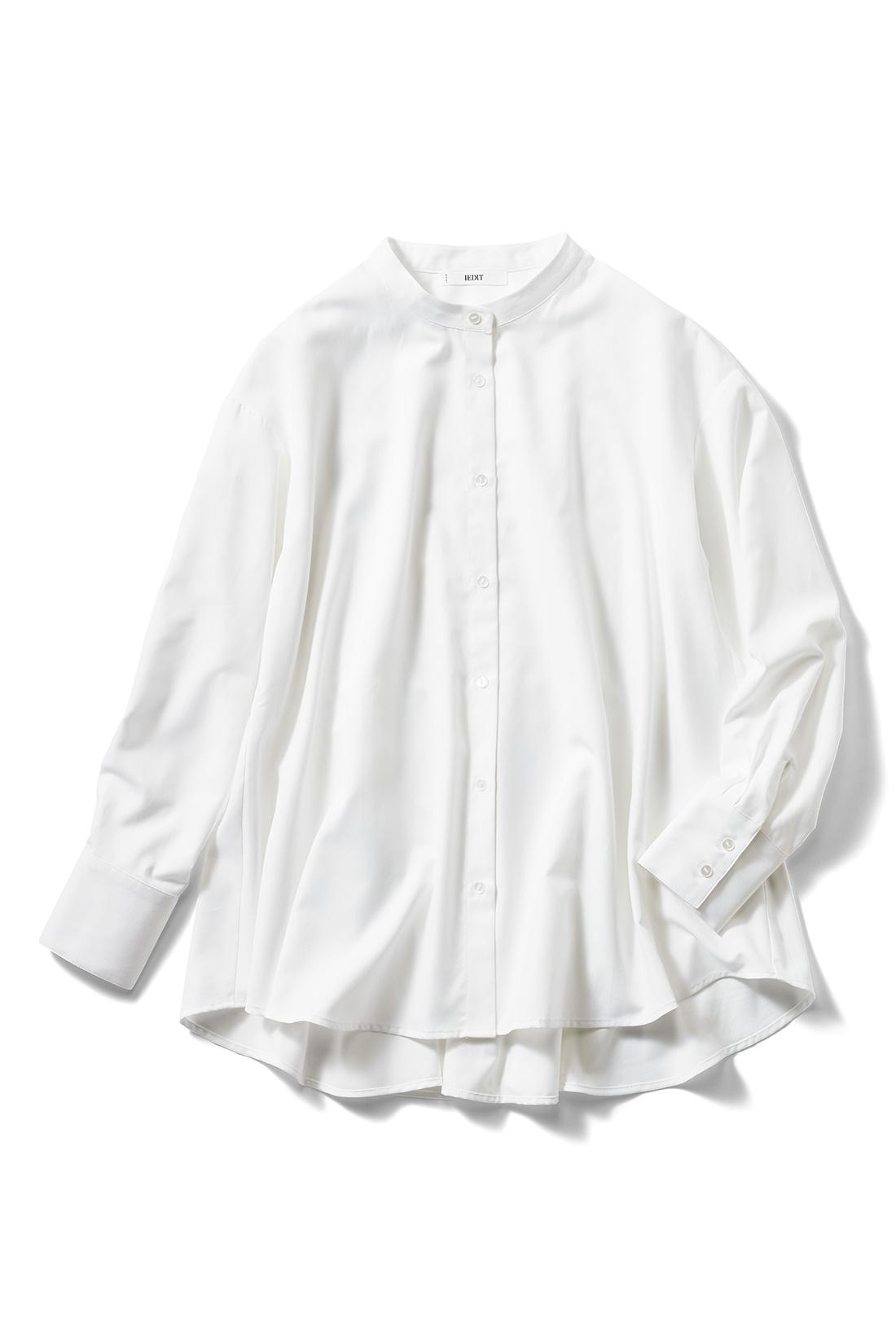 フェリシモ IEDIT[イディット] UVカット&防汚加工 クレバー素材のしなやかドレスシャツ〈フレアー〉【送料無料】