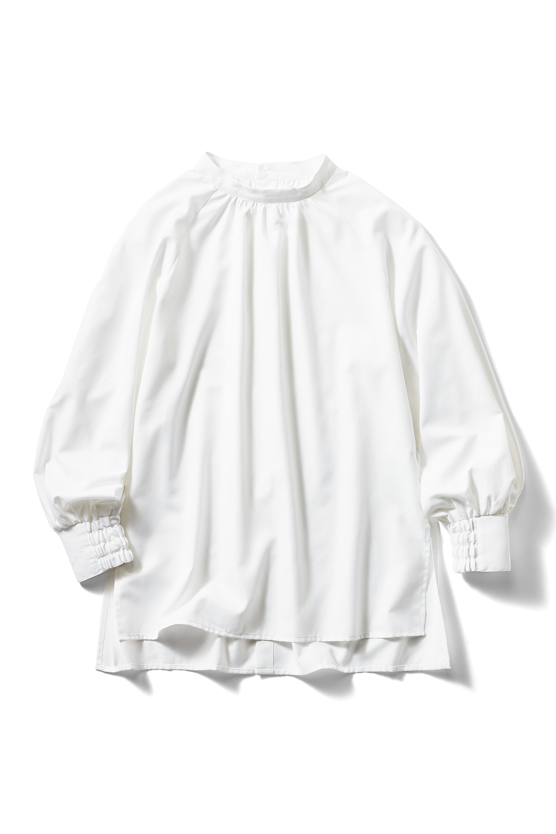 フェリシモ IEDIT[イディット] UVカット&防汚加工 クレバー素材のしなやかドレスシャツ〈ギャザー〉【送料無料】