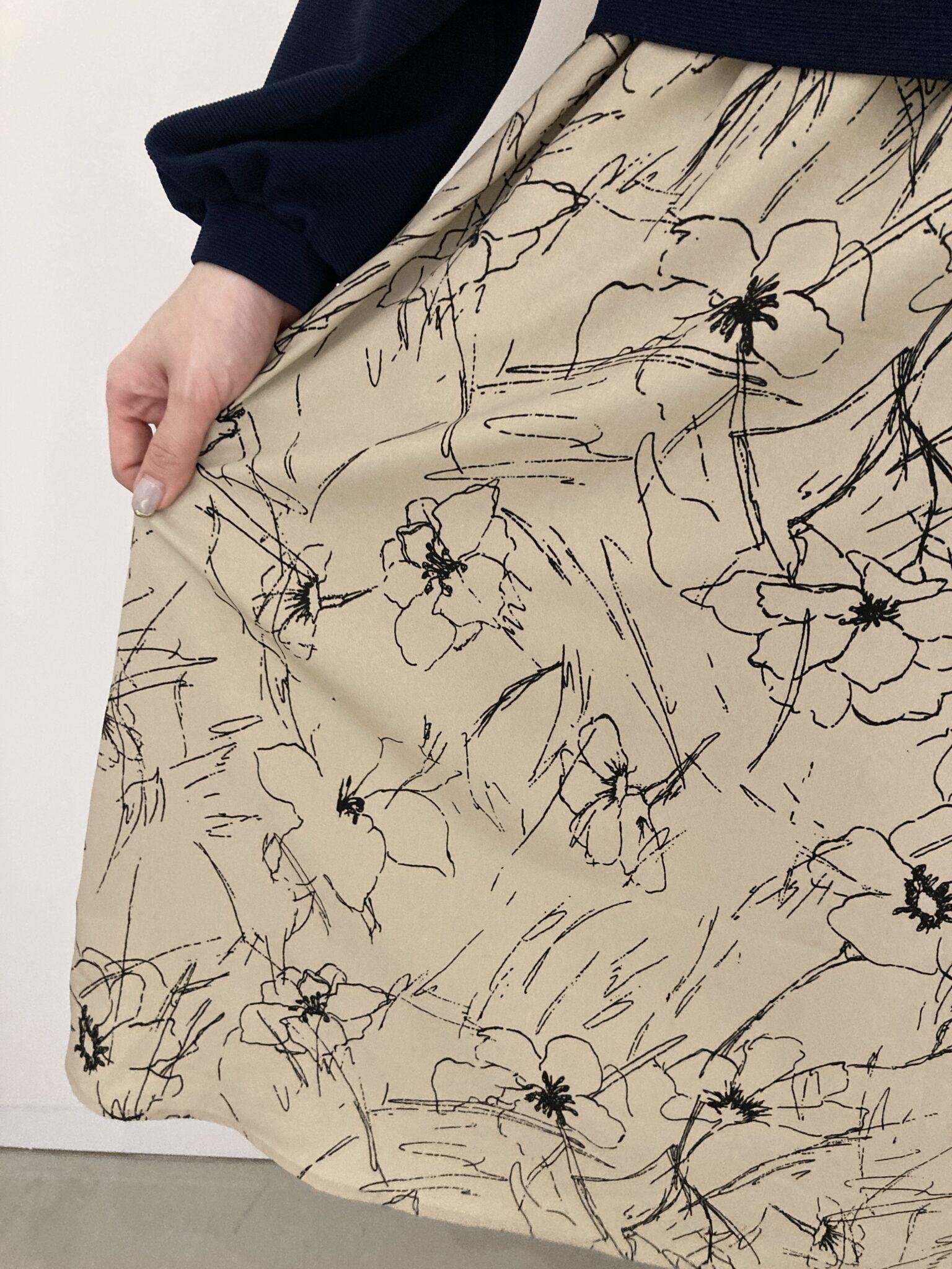 フェリシモIDIT一枚で好印象コーデが完成シックに華やぐドッキングワンピスカート柄ネイビー